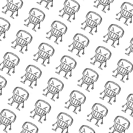 bared teeth: Pencil drawing illustration cartoon style pattern in black and white of an angry monster child character with his closed eyes and bared teeth.