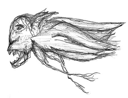 Evil bird raster hand draw illustration flying in white background. illustration