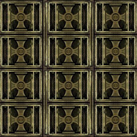 Photo collage digital technique wood greek cross background pattern in gold tones in square format. photo