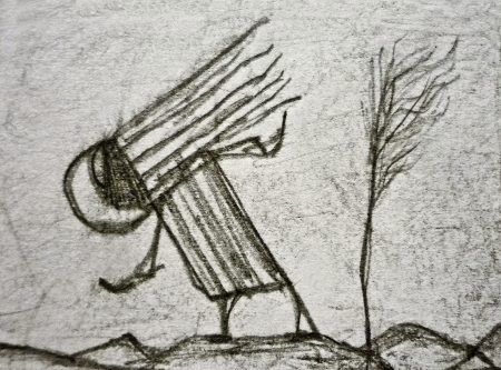 Pencil drawing artwork depicting an strange alien animal in a nature environment with mountains and a little tree  photo