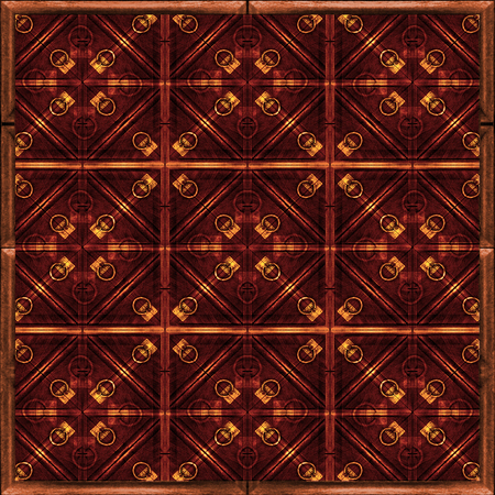 Refined digital photo manipulation geometric collage artwork pattern in warm tones. photo