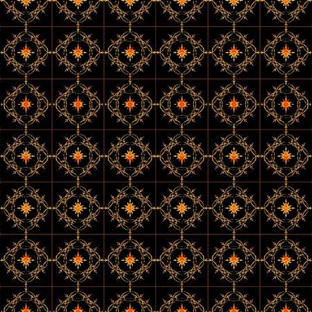 Luxe ornament patroon in levendige warme tinten adn donkere achtergrond ook bruikbaar als achtergrond, decoratieve of geraffineerde onderwerpen. Stockfoto - 25473539