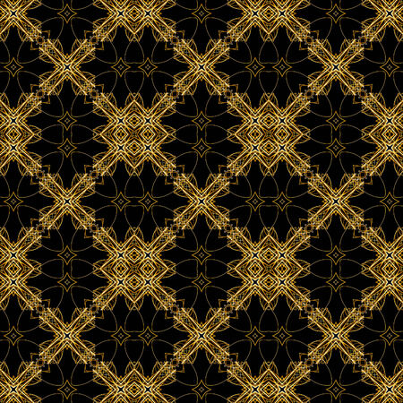 uniqueness: Digital style ornament fancy artwork in golden tones in black useful as pattern or decorative topics.
