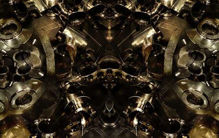 photomanipulation: Digital photomanipulation technique futuristic alien machine background in dark brown tones. Stock Photo