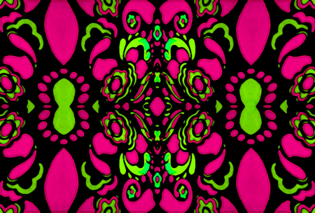 Psychedelic retro style ornament pattern design in vibrant and saturated complementary green and magenta colors photo