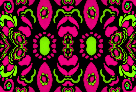 complementary: Psychedelic retro style ornament pattern design in vibrant and saturated complementary green and magenta colors