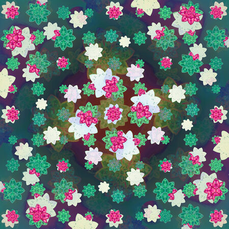 Colorful and fresh floral motif pattern composition design in square format  photo