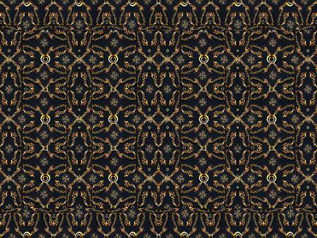 motif pattern: Refined and luxury geometric motif pattern artwork in golden tones against blue background.