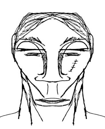 Dark alien men portrait raster illustration in black and white tones Stock Photo
