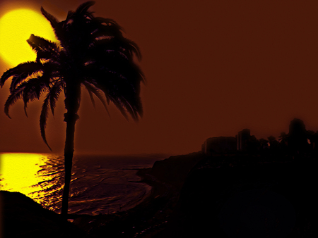 edited photo: Beautiful summer sunset digital edited photo with hot colors and high contrast look design