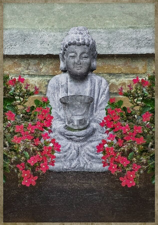budda: Photo manipulation and collage digital artwork grunge style picture of a little buddha sculpture candle surrounded by red flowers against stone wall.