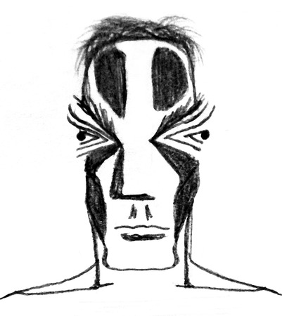 surrealist: Pencil drawing raster illustration of a futuristic or primitive men with black tatoo in his face in black and white tones.