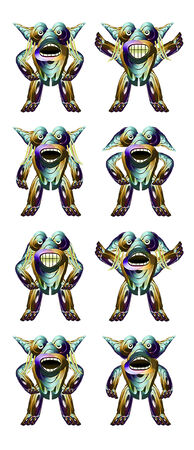 animator: Eight futuristic raster funny monsters characters illustration full body expressions against white background ideal for animation or kid stuff