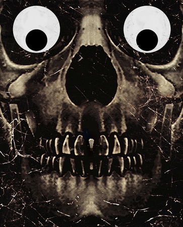 photo manipulation: Funny dark photo collage concept artwork showing a dark skull with a funny expression in his eyes balls in brown tones.