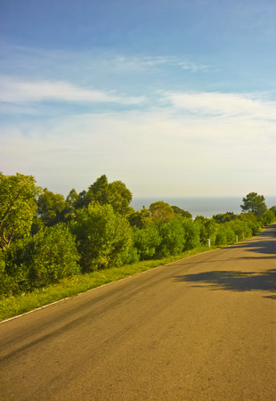 highs: Peaceful and quiet view of an empty road in the highs of san antonio hill located in uruguay Stock Photo