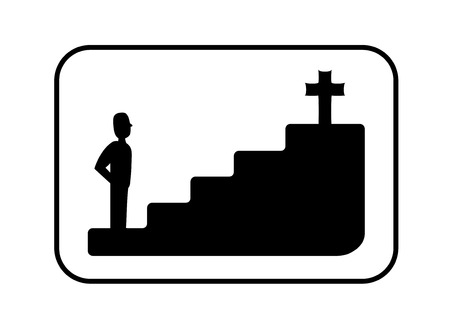 Black and white faith or religious concept illustration about a man in a stair watching a christian cross symbol located a few steps away from him illustration