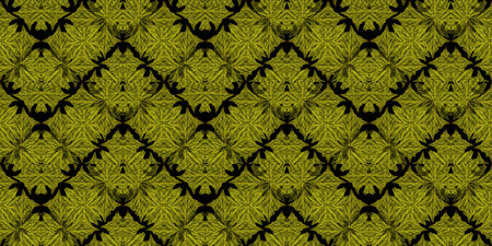 yelllow: Digital technique plants collage floral pattern background in dark yelllow tones in black background