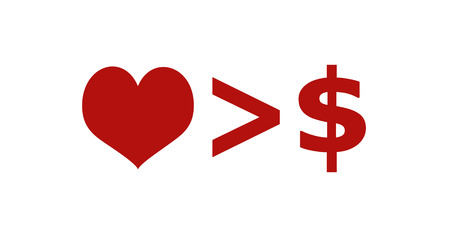 than: Love is more important than money concept minimal style graphic symbol illustration in red and white colors