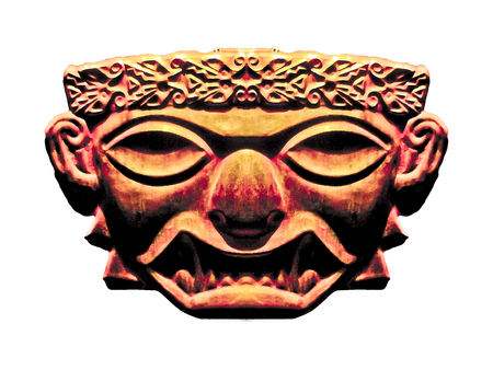 dark face: Digital edited and manipulated ancient inca civilization religious or artistic dark face mask sculpture photo in saturated orange tones in white background. Stock Photo