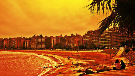 edited photo: Digital photo edited of people enjoying the day in part of the boardwalk in the city of Montevideo in Uruguay