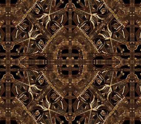 wallpapers: Digital manipulated technique pattern artwork made it from iron pictures in dark brown tones. Stock Photo