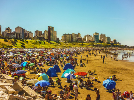 Crowded beach in Mar del Plata, the most famous seaside resort city the atlantic coast of argentina, south america.