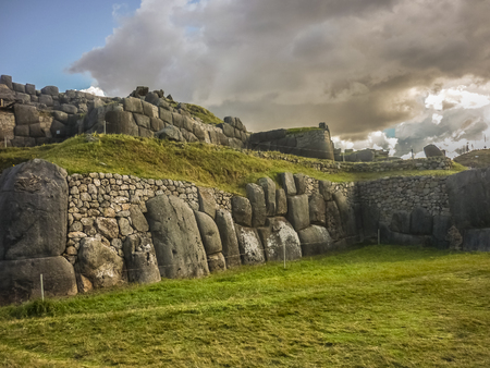 incan: Sacsayhuaman is an Inca ceremonial fortress located two kilometers north of the city of Cuzco Stock Photo