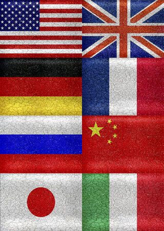 G8 grunge style flags pattern composition in saturated colors in vertical format.