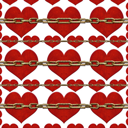 Love Conceptual collage pattern artwork of a heart-shaped grunge style icons and vertical chains in the front of them photo