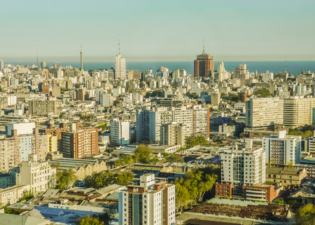 montevideo: Aerial View of the capital citiy of Uruguay, South America