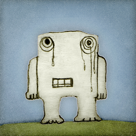 Hand draw raster illustration of a lonely baby monster crying in front view and square format illustration