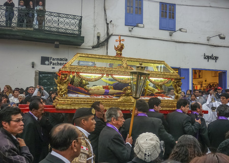 carrying the cross: CUSCO - PERU - APRIL 2014 -Easter Procession of the Lord of Tremors, Cusco