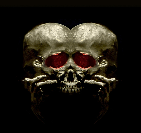 photo manipulation: Digital edited and manipulated creepy ancient skull head transformed in an alien monster in black background Stock Photo