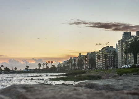 Beautiful landscape view of the coast in the city of Montevideo, the capital of Uruguay. Stock Photo
