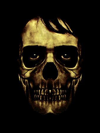 saturated: Scary collage digital art illustration of a man with skull mask and evil expression eyes in saturated yellow tones and black background. Stock Photo