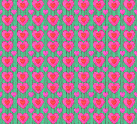 Grunge style pattern heart shaped motif in vibrant warm and cold tones photo