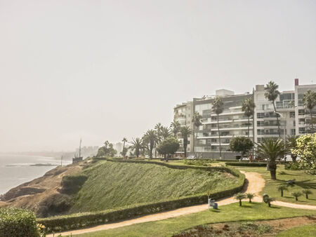 miraflores district: Unusual and original point of view of the coast of Lima with whis modern buildings and his tall ravines.