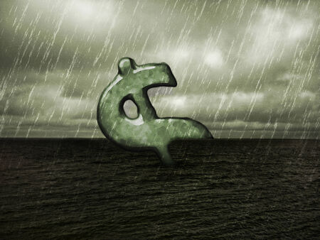 manipulated: Digital collage manipulated financial risk concept raster illustration with dollar sign adrift at sea in a rainy dark landscape environment