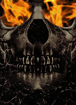 Griezelige digitale collageillustratie van een schedelportret met vlam in zijn banen in verzadigde oranje tonen