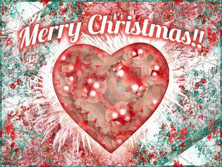 merry christmas text: Dise�o retro vintage colorido en tonos fr�os la celebraci�n de navidad fondo de la postal con el texto de la Feliz Navidad en la parte superior, los fuegos artificiales y el coraz�n decorado en forma en el centro y la textura de flores en el fondo