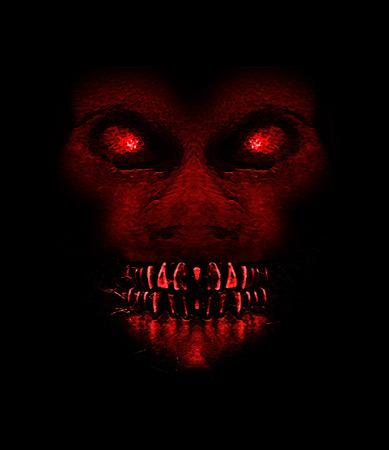 Ilustración digital raster monstruo malvado mono expresión retrato de frente en colores rojos saturados un fondo negro.