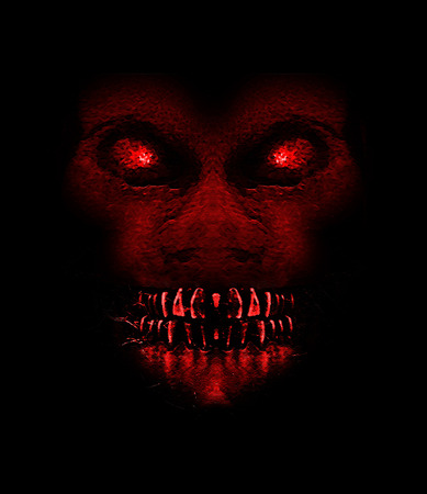 Digital raster illustration evil monster expression ape front view portrait in saturated red colors an black background.