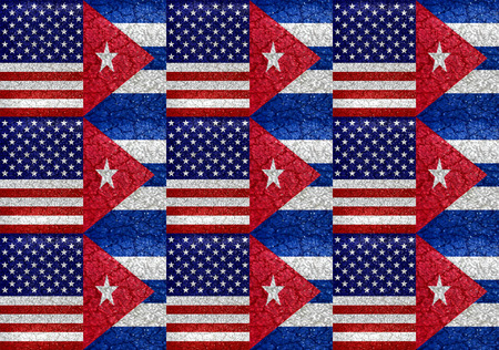 again: Usa and Cuba flag united again raster illustration pattern concept in vivid saturated colors and grunge style. Stock Photo