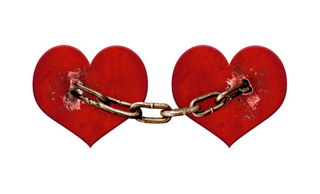 chained: Love or jealosuy concept digital collage technique raster illustration of two hearts chained in white background