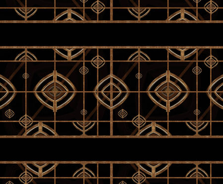 photomanipulation: Abstract geometric pattern in warm tones and black colors created with digital photomanipulation and collage technique.