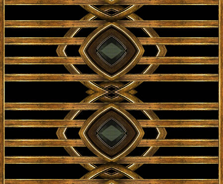 photo collage: Digital art photo collage technique geometric abstract egyptian style background in brown color and black background.