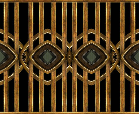 manipulated: Digital art photo collage technique geometric abstract egyptian style background in brown color and black background.