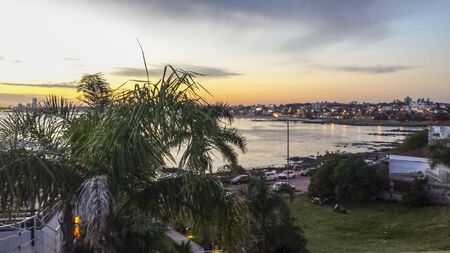 Plaza Virgilio square with a spectacular sunset landscape view of the coast of Montevideo, the capital city of Uruguay.