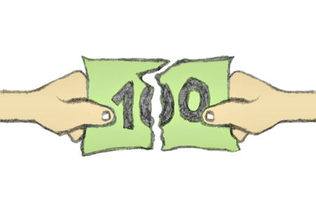 two dollar bill: Money of financial concept hand draw raster illustration showing two hands breaking a one hundred dollar bill in white background. Stock Photo