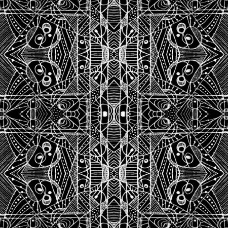 tile able: Geometric abstract tribal style digital technique pattern print in black and white tones.